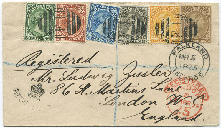 1895 (Mar. 5) Falkland Is. registered cover to Ludwig Zizzler in London