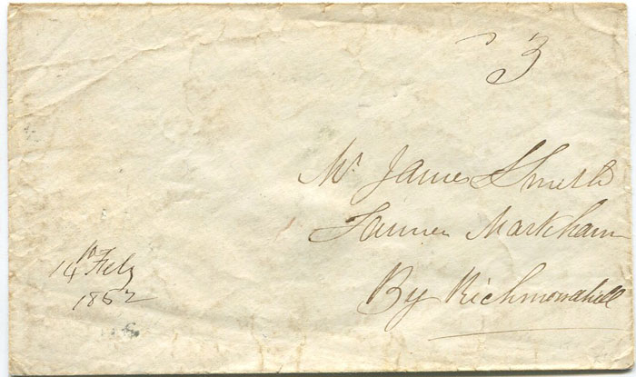 1862 (14 Feb) RICHMOND HILL C.W. and HAMILTON O.W. double arc cds