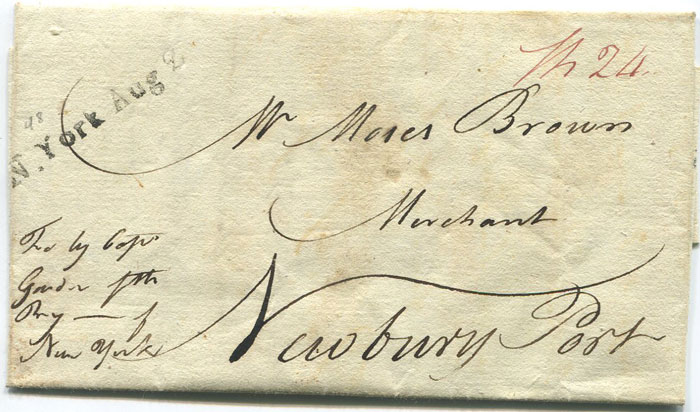 1793 (13 July) EL from St Kitts to Moses Brown, a merchant in Newbury Port in U.S.A.