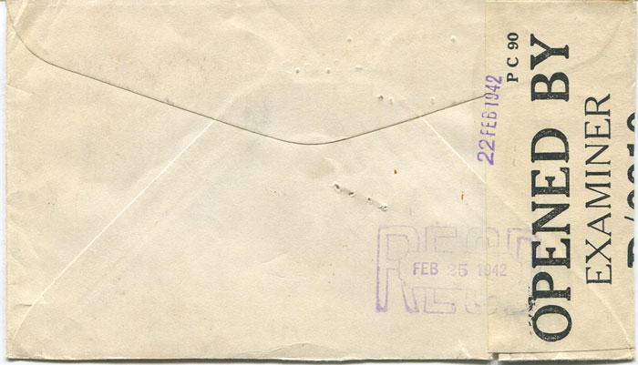 1942 (19 Feb) Colombia airmail cover to U.S.A. with Jamaica transit censor label