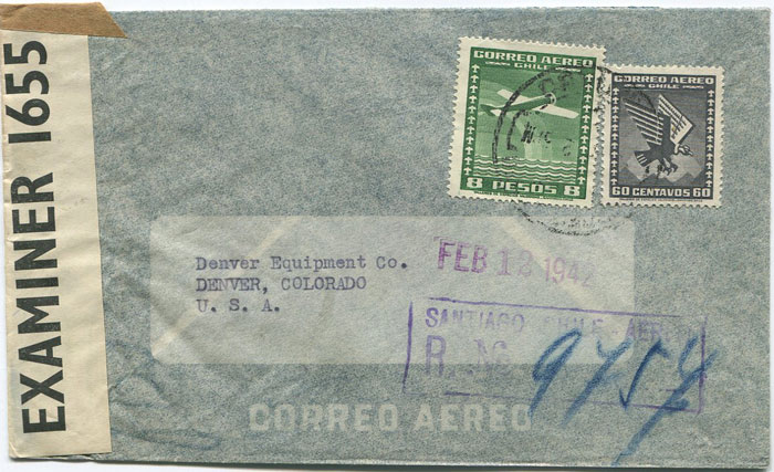 1942 (Feb) Chile airmail cover to U.S.A. with Jamaica transit censor label