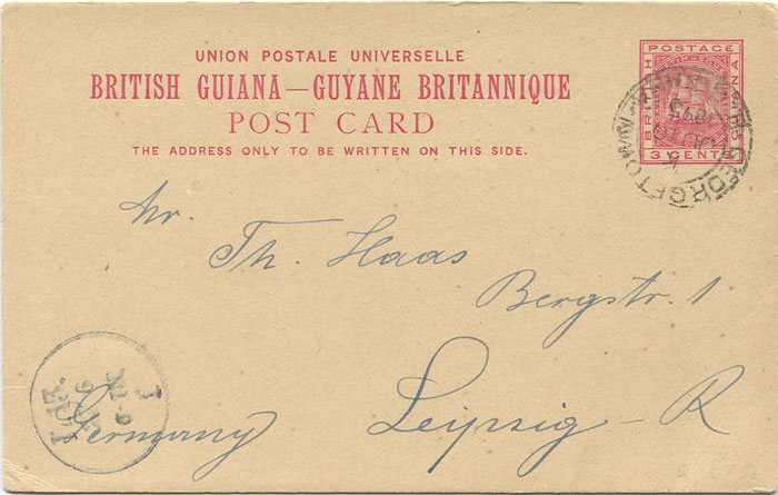 1887 British Guiana 3c postal stationery card