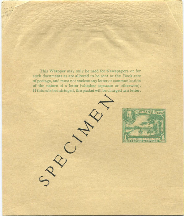 1934 British Guiana 1c postal stationery wrapper