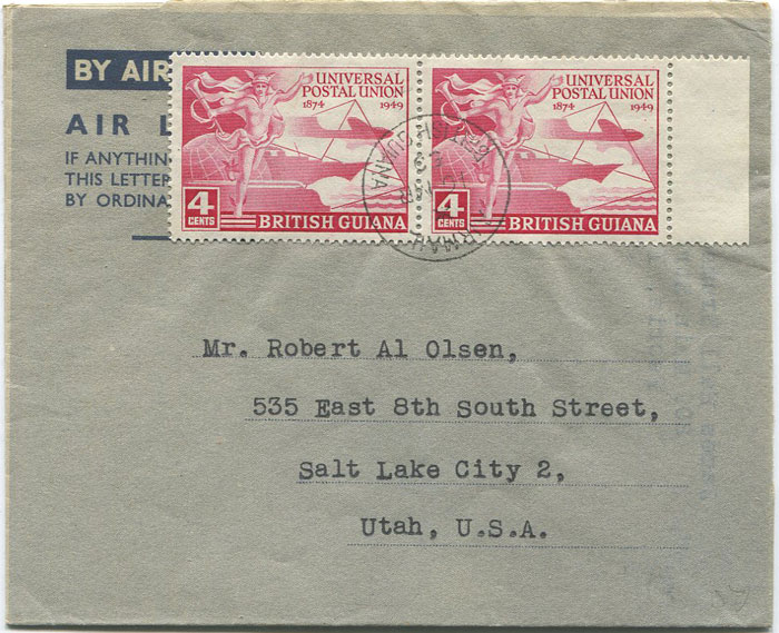 1950 British Guiana U.P.U. 4c pair on formular air letter to U.S.A.