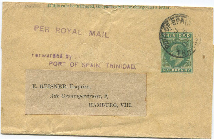 1902 Trinidad postal stationery ½d wrapper