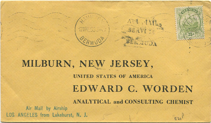 1925 (17 Apr) Zeppelin cover from Bermuda to New Jersey