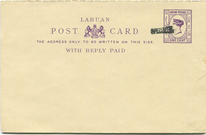 1893-4 Labuan One Cent + One Cent postal stationery postal card