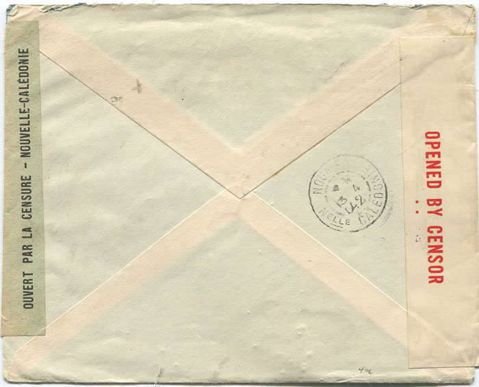 1941 (29 Nov) Argentina cover to New Caledonia with censor labels.