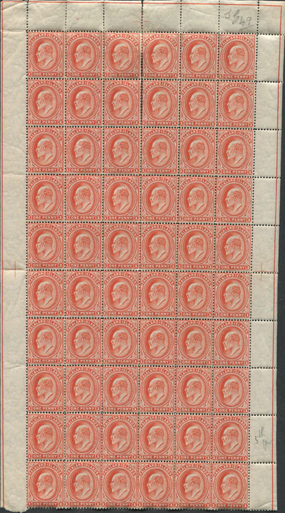 1904-12 Falkland Is. 1d orange vermilion (SG44e)