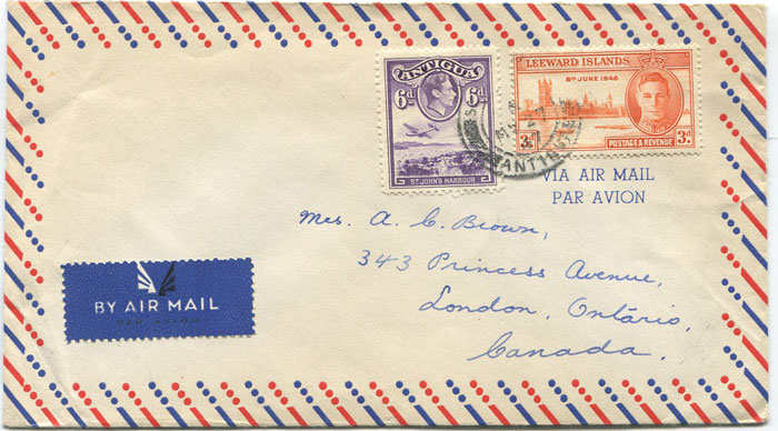 1947 Antigua airmail cover to Canada with 9d mixed franking.