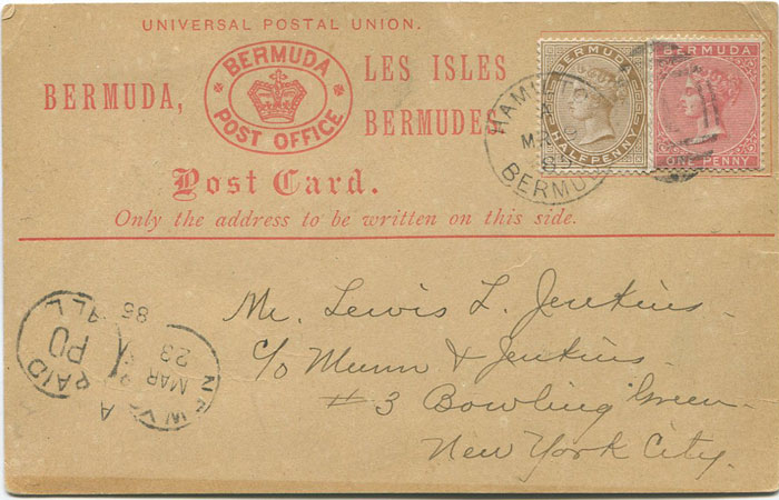 1880 (19 Mar) Bermuda 1½d postal stationery formular card