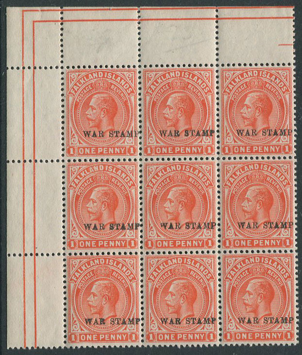 1918-20 Falkland Is War Tax 1d orange vermilion on thick greyish paper (SG71d)