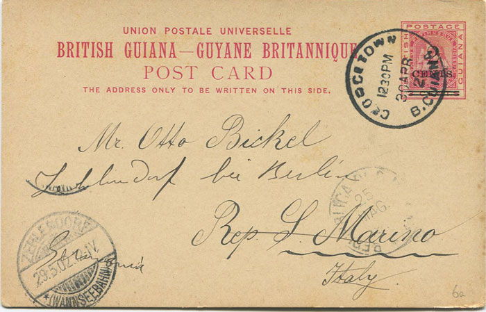 1892 British Guiana 2c on 6c postal stationery card