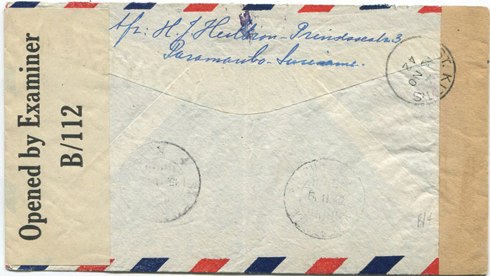 1942 (2 Nov) Suriname censored airmail cover to St Eustatius.