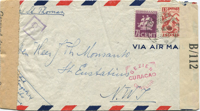 1942 (3 Dec) Suriname censored airmail cover to St Eustatius