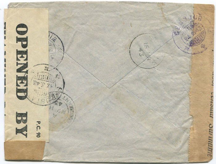 1943 (24 Feb) Suriname censored airmail cover to St Eustatius