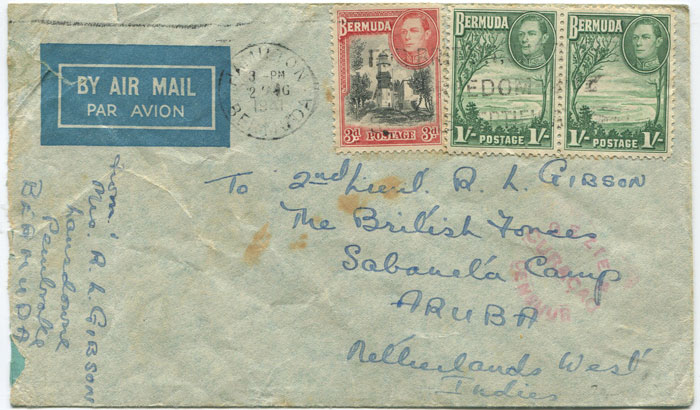 1941 (2 Aug) Bermuda airmail cover addressed to