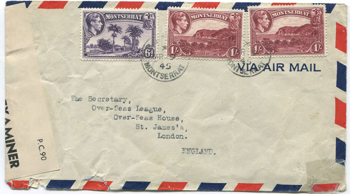 1945 (9 Mar) Montserrat airmail cover to London