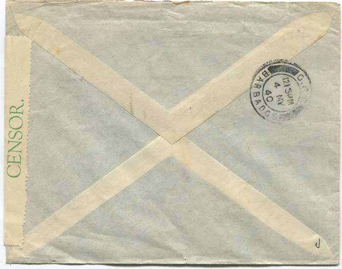 1940 (2 May) Guadeloupe censored airmail cover to Barbados