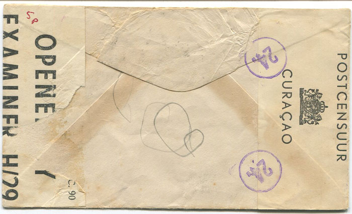 1944 (8 Mar) Saba censored airmail cover to Barbados