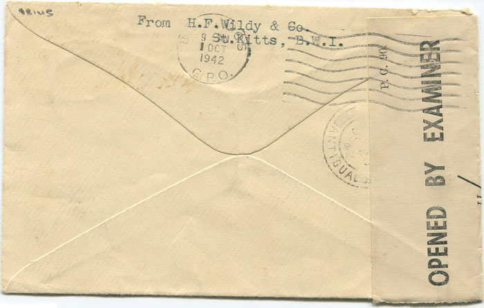 1942 (17 Sep) St Kitts Nevis censored airmail cover to Barbados
