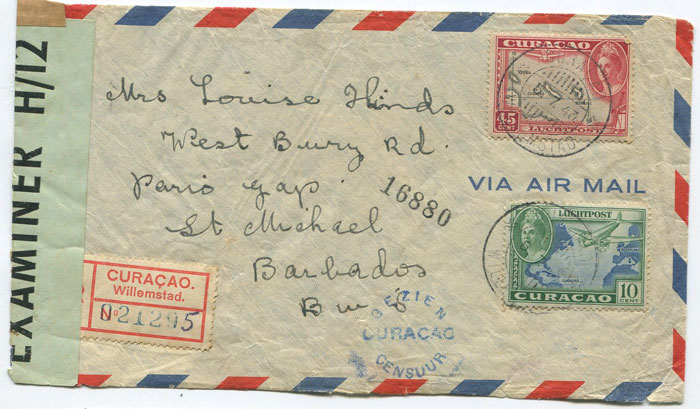 1943 5 July) Curacao registered censored airmail cover to Barbados