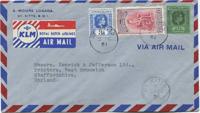 1951 St Kitts Nevis airmail cover to England