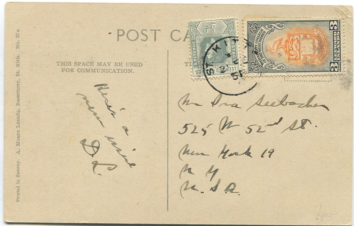 1951 St Kitts Nevis University 3c and Leeward Is. ½d on postcard to U.S.A.