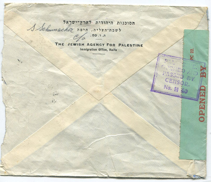 1940 (10 Jun) Palestine censored cover ti England