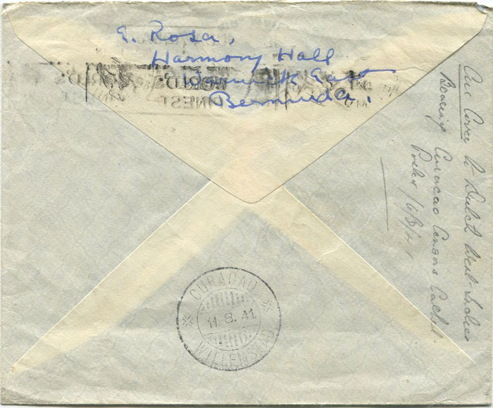 1941 Bermuda airmail censored cover to Curacao