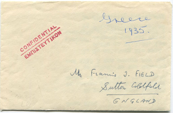 1957 Greece envelope marked confidential and addressed to Francis J. Field, England