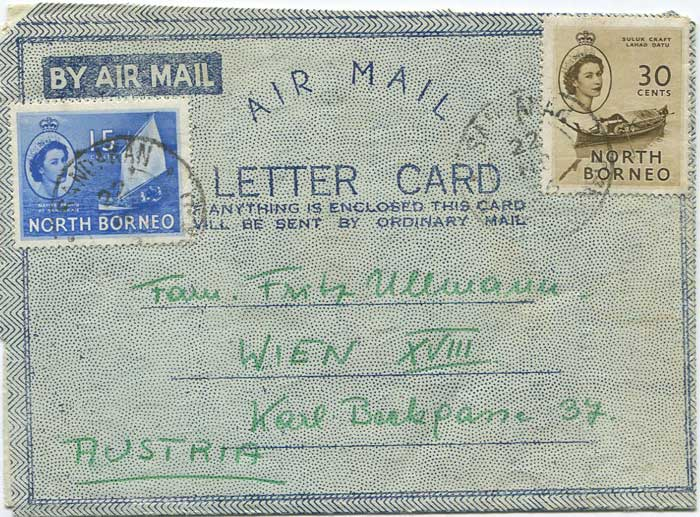 1956 North Borneo formular airletter used to Austria