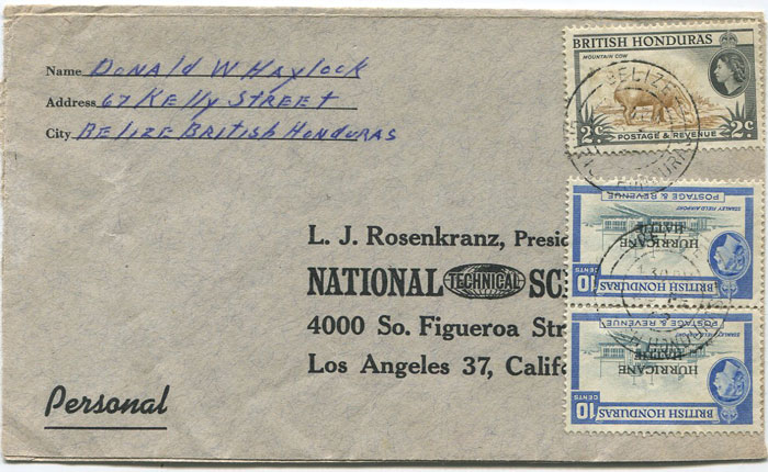 1962 British Honduras cover to U.S.A. with Hurricane Hattie
