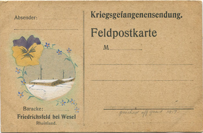 1917 German Prisoner of War camp P.O.W. card