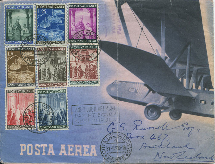 1950 Vatican City pictorial airmail envelope addressed to New Zealand