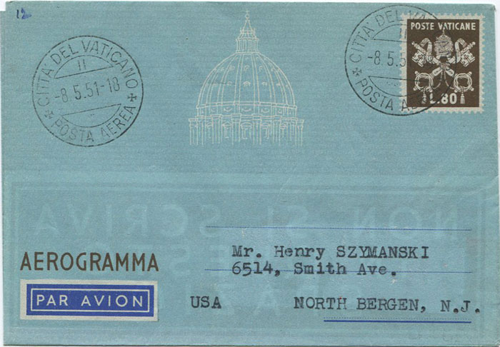 1951 (8 May) Vatican City L80 airmail letter sheet