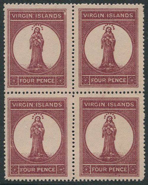 1867-70 British Virgin is 4d pale rose paper (SG15)