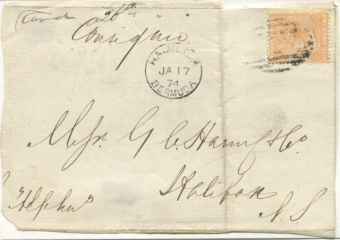 1874 Bermuda 3d orange (SG5) on cover front to Nova Scotia