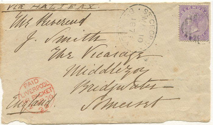 1876 Bermuda 6d dull mauve (SG7) on cover front to England tied by light obliterator.