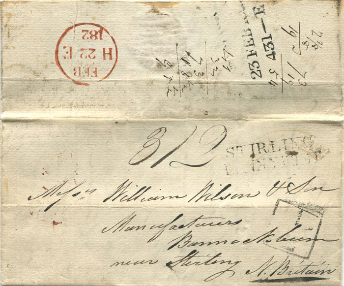 1826 curved GIBRALTAR h/s in red on EL to Scotland