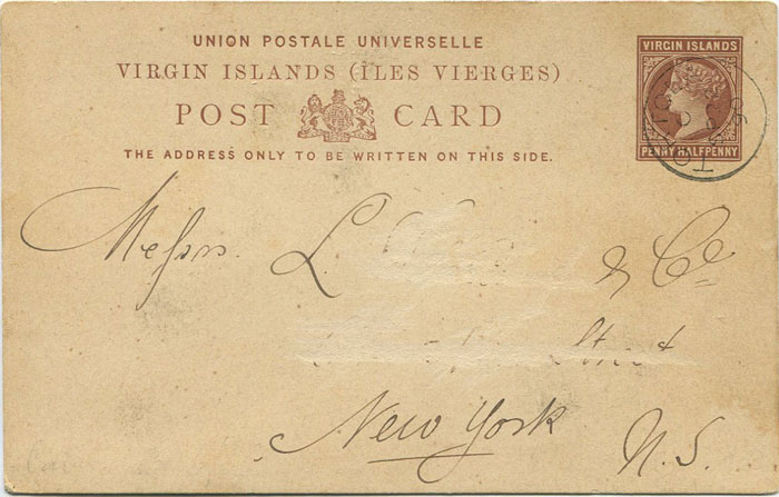 1887 Virgin Islands 1½d postal card