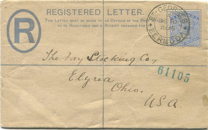 1892 Bermuda postal stationery 2d registered envelope