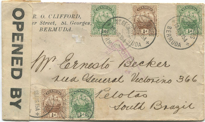 1915 Bermuda censored cover to Brazil