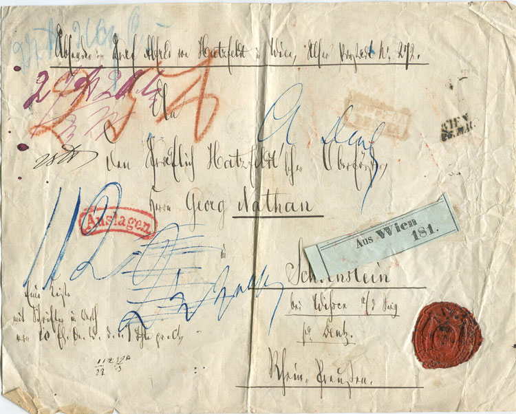 1860 (circa) Austria registered parcel address paper addressed to An den Gräflich Hatzfeld