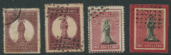 1866-8 Virgin Islands selection of forgeries.