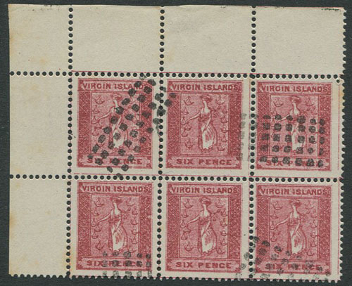 1866-8 Virgin Islands selection of forgeries in marginal blocks of 6.