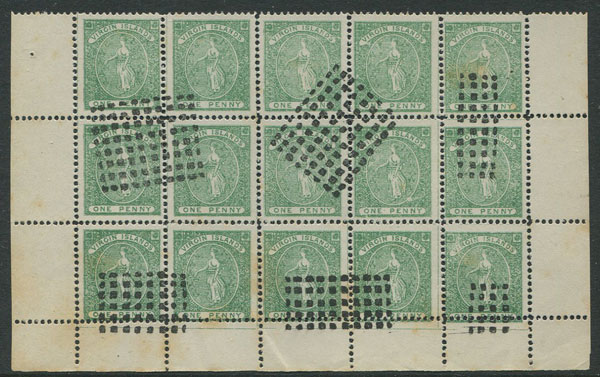 1866-8 Virgin Islands selection of forgeries in marginal blocks of 15.