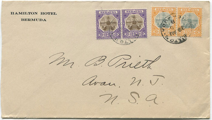 1910 Bermuda ¼d and 2d Dry Dock pairs on cover