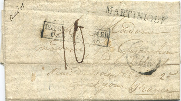 1828 (27 Jun) MARTINIQUE s/l h/s (44 x 5mm) on EL from St Lucia to France