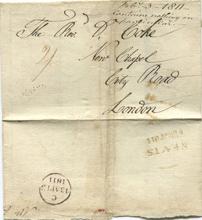 1811 (22 Feb) NEVIS FEB 22 811 two line date stamp (PF 1) on cover to London.